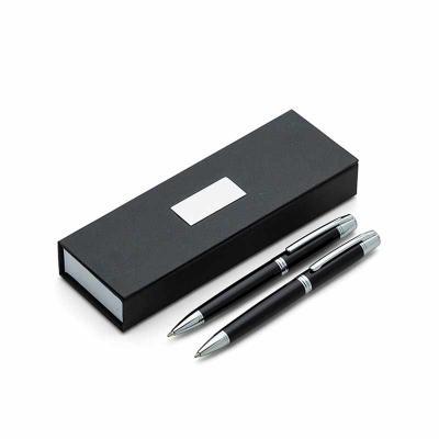 J.E Brindes - Conjunto caneta e lapiseira em estojo de cartonagem com placa central para personalização. Clip metal com dois anéis em relevo, anel centralizado e do...