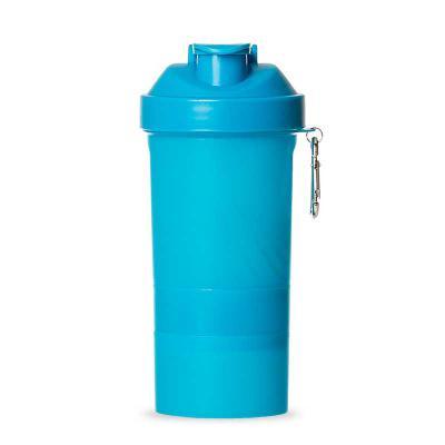 J.E Brindes - Coqueteleira 400ml plástica porta suplementos desmontável. Possui: copo 400ml(medida em ml e oz), compartimento com divisória para comprimidos, compar...