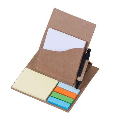 J.E Brindes - Bloco de anotações ecológico dobrável com Sticky notes e caneta. Bloco possui um suporte com folhas brancas(aproximadamente 50 folhas) que ao ser incl...