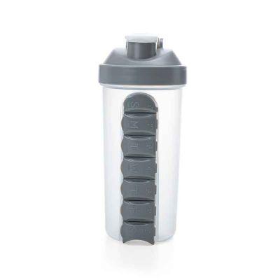 J.E Brindes - Coqueteleira plástica 750ml com porta comprimido. Copo transparente fosco com medição em ml e oz(600ml e 20oz), apesar do copo constar esta medição el...