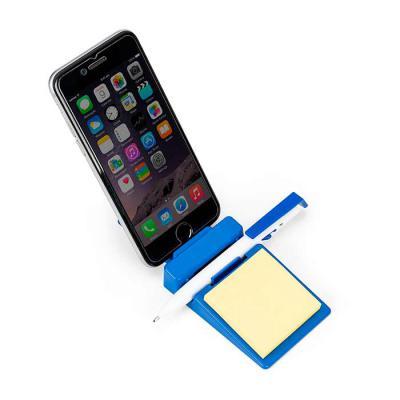 J.E Brindes - Suporte plástico para celular com caneta plástica e bloquinho de rascunho. Suporte colorido com encaixe para caneta e celular, acompanha bloquinho ama...