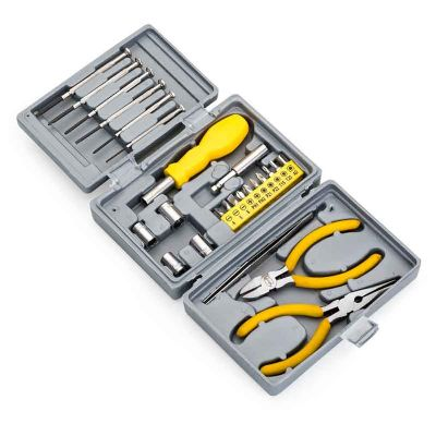 J.E Brindes - Kit ferramenta 25 peças em estojo plástico resistente texturizado. Possui 2 mini chaves de fenda e 4 mini chaves phillips, adaptador chave de boca, ch...