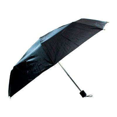 J.E Brindes - Guarda chuva personalizado, sombrinha manual, medida 53,5 cm, 8 varetas e haste na cor prata,material e estampa poliéster preto, cabo plástico preto.