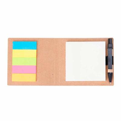 j-e-brindes - Mini bloco de anotações ecológico com post-it e caneta. Abertura superior, possui cinco detalhes circulares vazados na parte inferior. Bloco amarelo s...