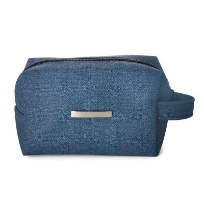 J.E Brindes - Necessaire puff de material sintético Jeans com alça, parte interna de acabamento forrado. Acompanha plaquinha para personalização na área frontal.  M...