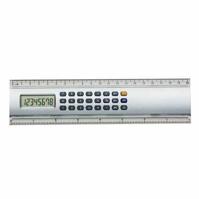 J.E Brindes - Régua calculadora plástica 20cm. Calculadora de 8 dígitos com base prata, possui as medidas cm e polegada nas laterais plásticas transparentes. Acompa...