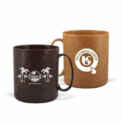 GJ Brindes - Caneca redonda Eco Sustentável, com 50% de Fibra Natural de coco ou madeira, Atóxico, resistente a microondas e máquina de lavar, capacidade de 400 ml...