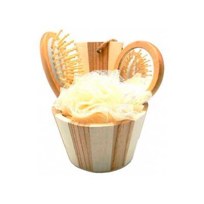 GJ Brindes - Kit banho ecológico cestinha com 3 peças