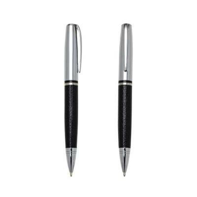 newsilk - - Caneta metal personalizada prata com couro preto. - Clip metal, possui anel central preto e dois anéis em relevo na ponteira. - Possui as versões fo...