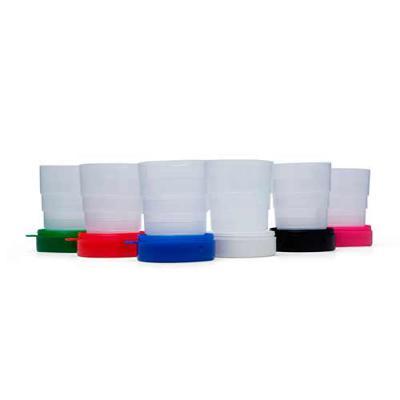 """NewSilk - - Copo retrátil 200ml de plástico com tampa porta comprimido e base colorida. Basta puxar para cima para """"armar"""" o copo, possui """"suporte"""" para chaveir..."""