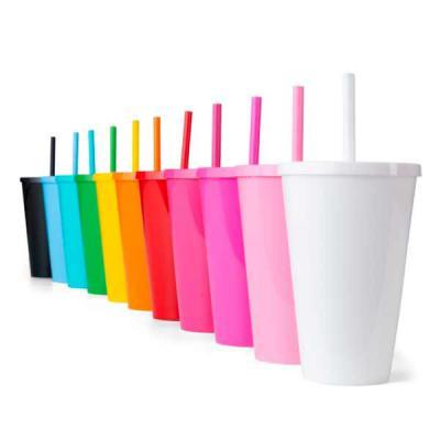 NewSilk - Copo plástico com tampa e canudo, pintura leitosa. Diversas cores e tamanho. Verificar disponibilidade de cores e tamanho. Impressão: tampografia  *Ca...