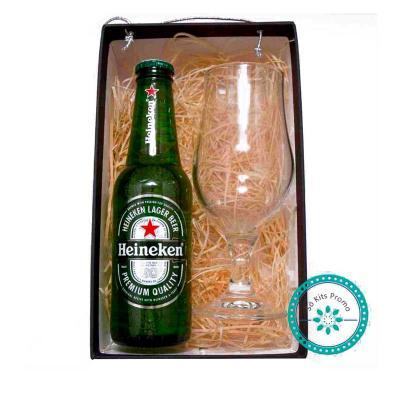 K3 Brindes - VKit Cerveja com 1 taça de cerveja e 1 cerveja long neck