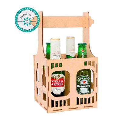 K3 Brindes - Kit Cerveja com 4 garrafas e engradado em MDF