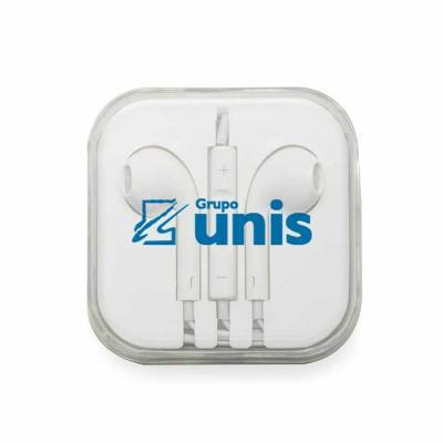 Brinde Show - Fone de ouvido P2 com microfone e controle de volume, possui cabo emborrachado e estojo de acrílico.