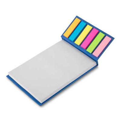 Spaceluz Brindes - Bloco de anotações ecológico com sticky notes. Capa colorida, possui 6 bloquinhos autocolantes coloridos com aproximadamente 20 folhas e bloco branco...