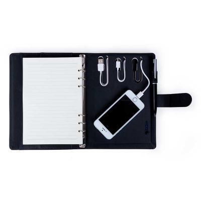 Spaceluz Brindes - Caderno de anotações com power bank
