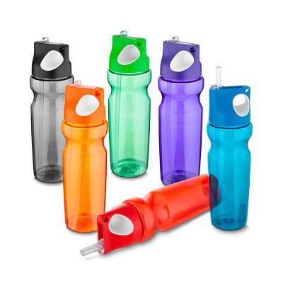Spaceluz Brindes - Garrafa plástica 870 ml com alça de mão emborrachado e canudo (Squeeze)