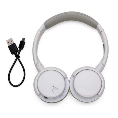 Spaceluz Brindes - Headfone wireless preto com haste ajustável e fones giratórios