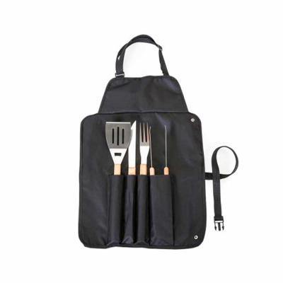 Spaceluz Brindes - Kit churrasco com 4 peças e avental em nylon
