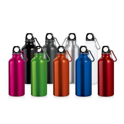 Spaceluz Brindes - Squeeze. Alumínio. Com mosquetão. Capacidade: 500 ml. Food grade. ø66 x 210 mm