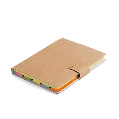 Spaceluz Brindes - Bloco de anotação em cartão kraf com 7 blocos adesivados