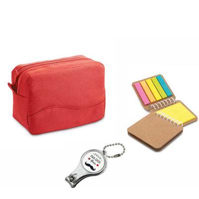Spaceluz Brindes - Kit Necessaire com chaveiro e bloco.  Necessaire confeccionada em microfibra, fechamento em ziper. Medidas: 130 x 90 x 65 mm   Chaveiro metal 3 em 1:...
