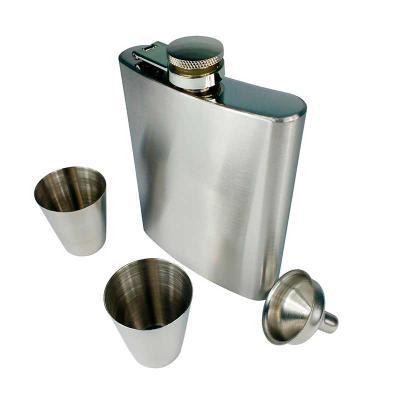 Spaceluz Brindes - Kit cantil em inox garrafa de bolso com 2 copos e funil