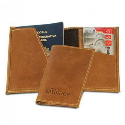 Spaceluz Brindes - Porta passaporte em couro