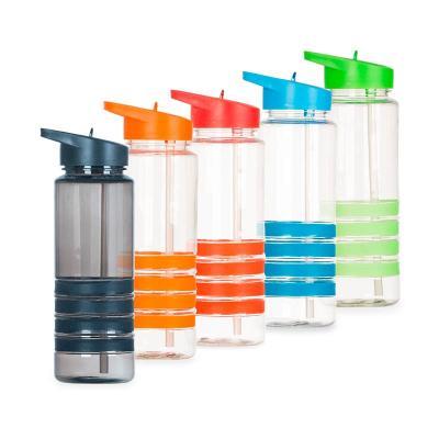 Spaceluz Brindes - Squeeze plástico 700ml com bico de canudo.  Squeeze transparente com 4 linhas inferiores emborrachadas coloridas; tampa rosqueável colorida com uma es...