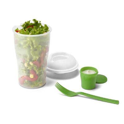 Inmark Brindes - Copo de salada 850ml com garfo e compartimento para molho. Copo plástico transparente com três detalhes ovais na lateral e tampa branca, no centro da...