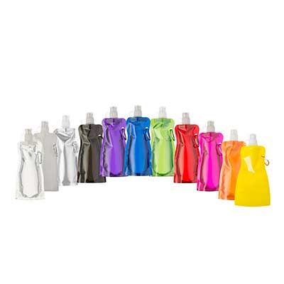 Inmark Brindes - Squeeze dobrável de plástico com 480ml. Squeeze colorido acinturado com mosquetão superior de acordo com a cor do squeeze, possui tampa de bico textur...