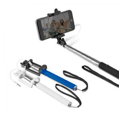 Inmark Brindes - Bastão de selfie. PVC e aço inox. Com cabo de ligação jack 3,5 mm e botão obturador no cabo.  Bastão extensível até 1040 mm. Medidas: 45 x 215 x 30 mm...