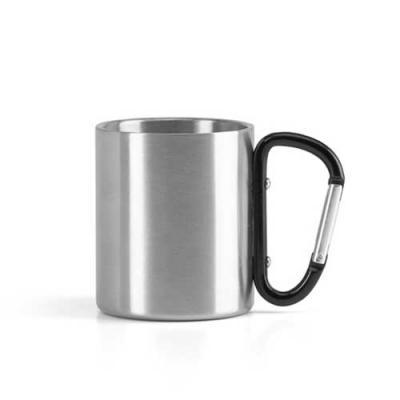 Inmark Brindes - Caneca Aço inox Com mosquetão. Capacidade até 230 ml.  Tamanho 7,0 x 8,2 cm  Pode ser personalizada com a logo da sua empresa.  Faça seu orçamento.