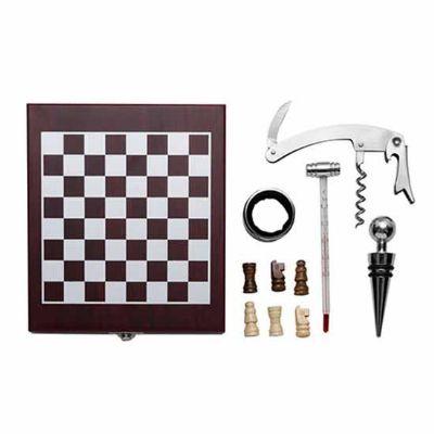 Prieto Brindes e Presentes Corporativos - Kit vinho xadrez com 4 peças
