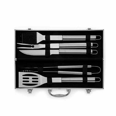 Prieto Brindes e Presentes Corporativos - Kit Churrasco 5 peças com maleta de alumínio
