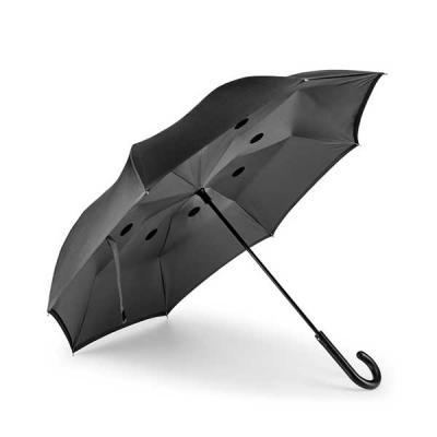 Prieto Brindes e Presentes Corporativos - Guarda-chuva reversível. Pongee 190T. Capa dupla. Cabo em metal e varetas em fibra de vidro. Abertura manual e fecho automático. Estrutura patenteada....
