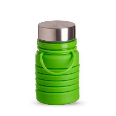 Prieto Brindes e Presentes Corporativos - Garrafa retrátil 600ml produzida em silicone livre de BPA. Possui tampa rosqueável de alumínio e alça para transporte. Obs.: apesar da marcação de cap...