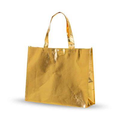 Prieto Brindes e Presentes Corporativos - Sacola TNT Metalizada cor dourada