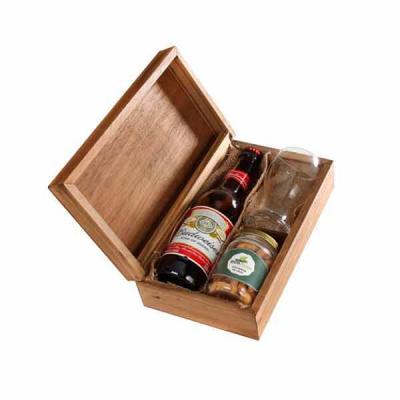 Eco Design - Kit Cerveja com caixa , cerveja Budweiser, copo de vidro e pote de petisco personalizados