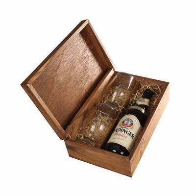 Eco Design - Kit Cerveja com cerveja Erdinger, dois copos  e caixa
