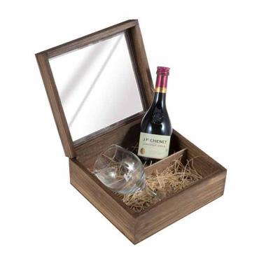 Eco Design - Kit em caixa de madeira envelhecida com garrafa de Vinho Francês J.P Chenet de 200 ml com 1 taça de vidro para vinho com gravação na taça e na tampa d...