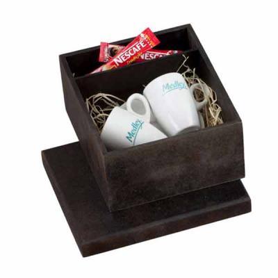 Eco Design - Kit com duas xícaras de porcelana, pires e saches de café