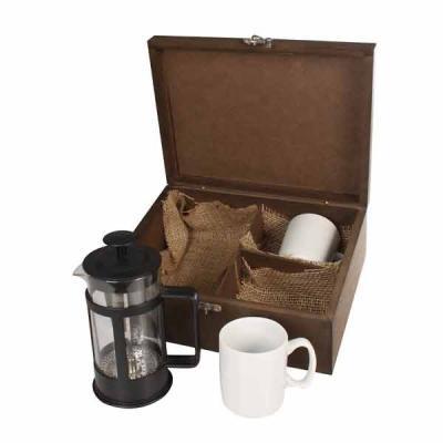 Eco Design - Kit Café com caixa de madeira envelhecida