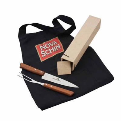Eco Design - Kit Churrasco com faca, garfo, avental e caixa