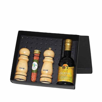 Eco Design - Kit Azeite em caixa de papel duplex com azeite Italiano extra virgem Colavita de 250 ml com 1 tubete de acrílico com temperos e pimentas a escolher co...