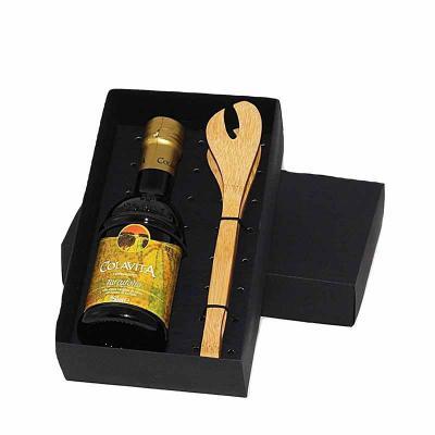 Eco Design - Kit Azeite em caixa de papel duplex com azeite Italiano extra virgem Colavita de 250 ml com pegador de salada de bambu com gravação na tampa da caixa...
