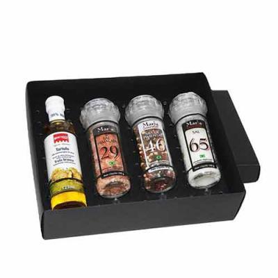 Eco Design - Kit Azeite em caixa de papel duplex com azeite Italiano extra virgem Montosco de 125 ml com 3 potes de vidro com moedores com sal grosso, sal rosa e m...
