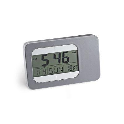 Amoriello Brindes Promocionais - Relógio de mesa com calendário, alarme e indicador de temperatura. Tela de LCD.