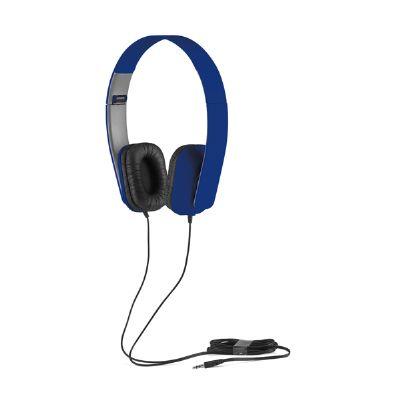 Amoriello Brindes Promocionais - Fone de ouvido personalizado na cor azul.