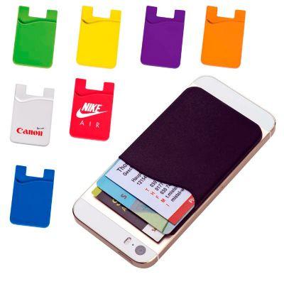 Amoriello Brindes Promocionais - Porta cartões para smartphone. PVC. Com autocolante. Medidas = 56 x 86 x 3 mm. SR – 40 x 45 mm.